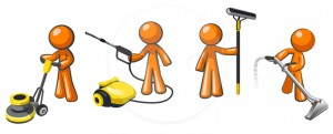Janitorial professionals. Pressure washer, floor buffer, window cleaner, and carpet extractor.